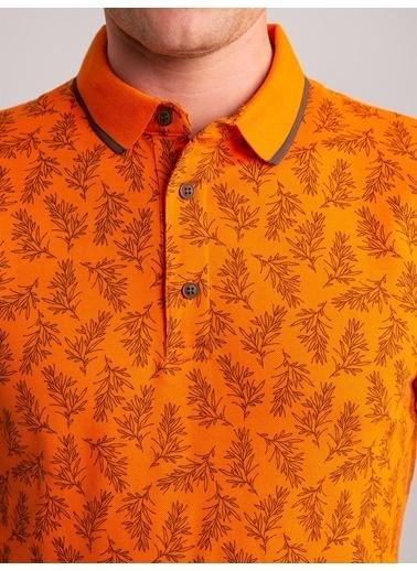 Dufy Desenlı Yumuşak Yaka Pamuklu Polo Yaka Erkek T-Shirt - Slim Fit Oranj